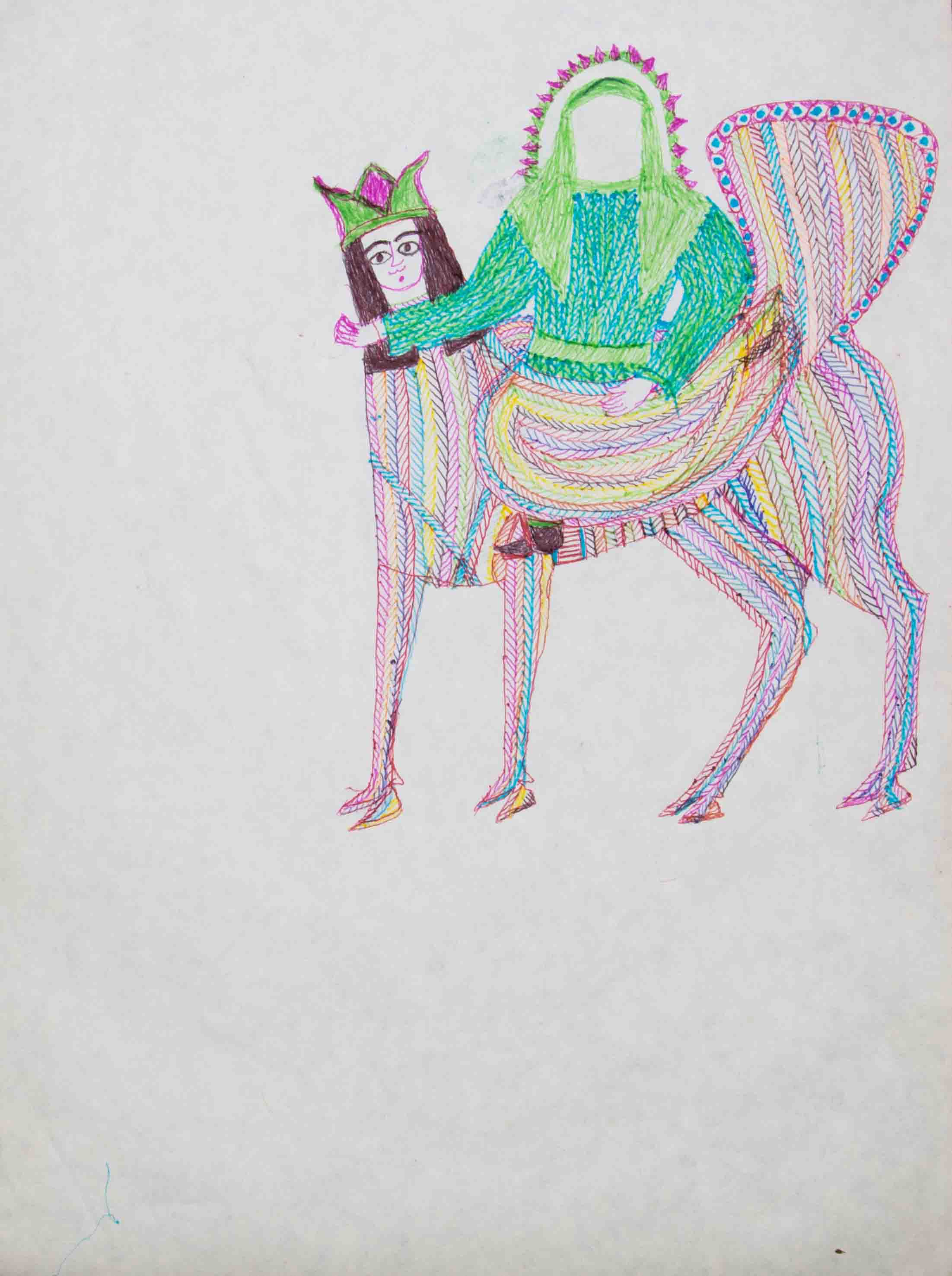 "From ""Mohammad's Boragh"" Series, 2007, Pen & rapid on paper, 29 x 39 cm"