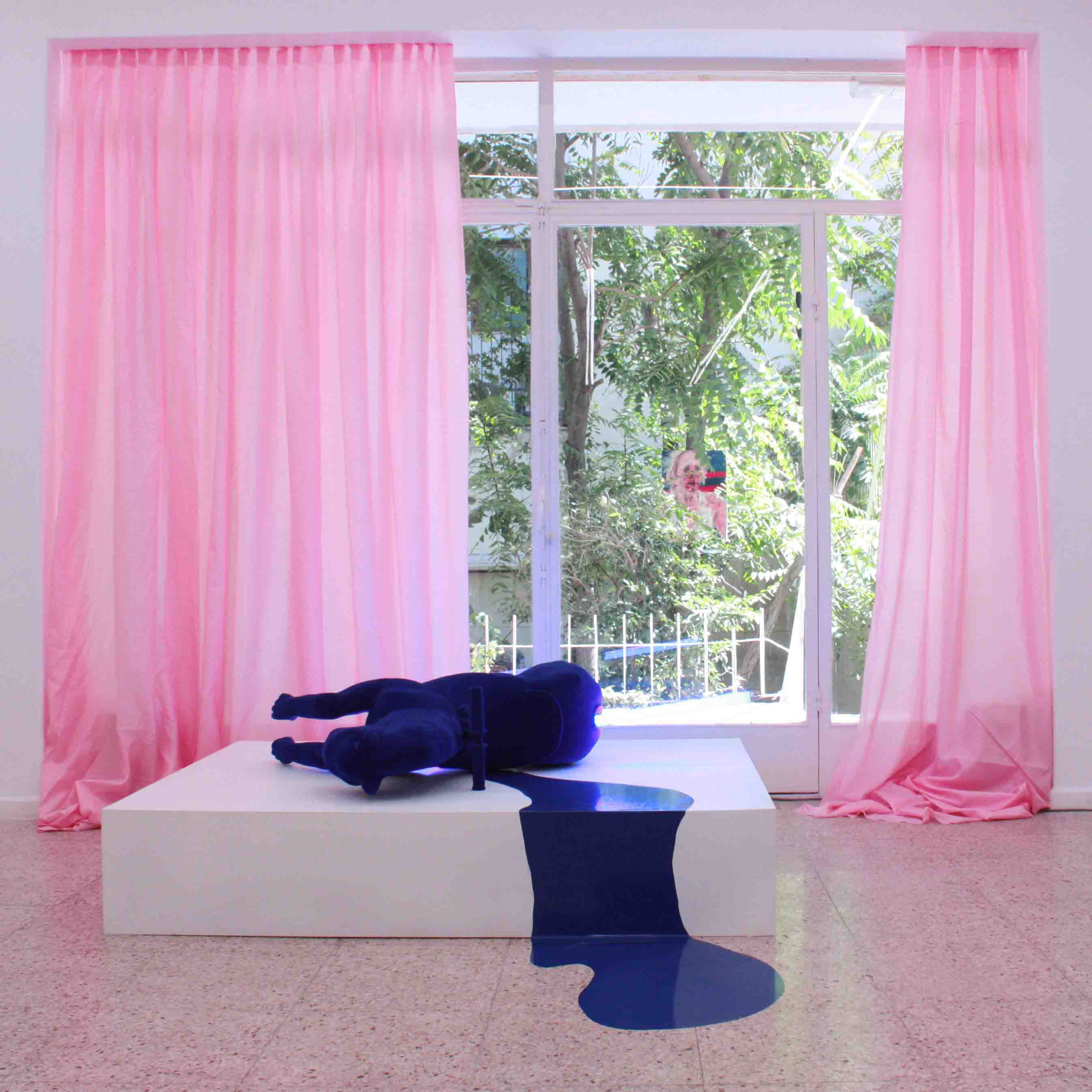 Untitled, 2018, Curtain, coined operated velvet hourse, neon & sticker, 160 x 54 x 120 cm