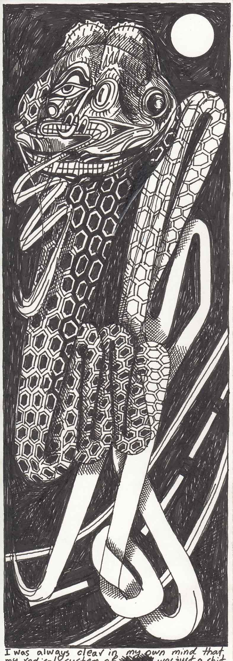 Pink punk kirtle, 2017, Drawing ink pen on paper, 10.5 x 29.5 cm