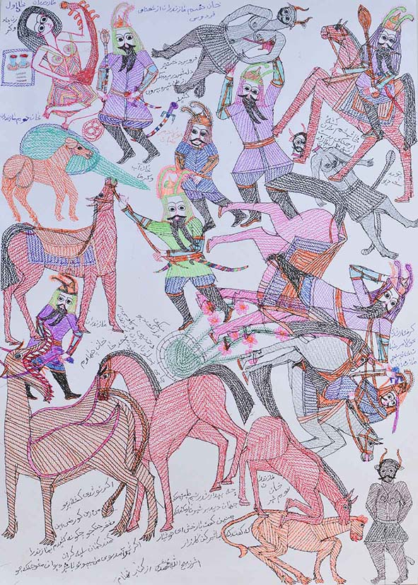 #331  Zabihullah Mohammady .... , Untitled, 2020  colour Pen On Paper 50 x70 cm